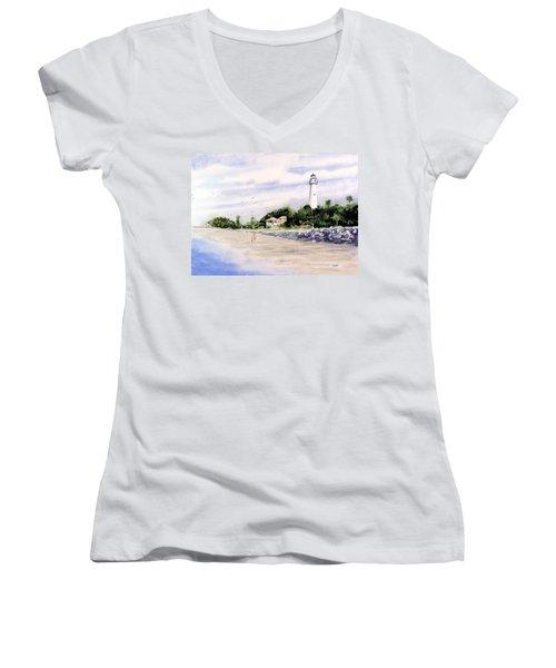 On The Beach At St. Simon's Island Women's V-Neck