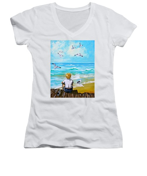 On The Boardwalk Women's V-Neck T-Shirt (Junior Cut) by Karon Melillo DeVega