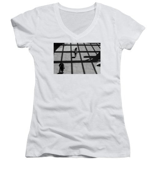 Women's V-Neck featuring the photograph On The Grid by Eric Lake