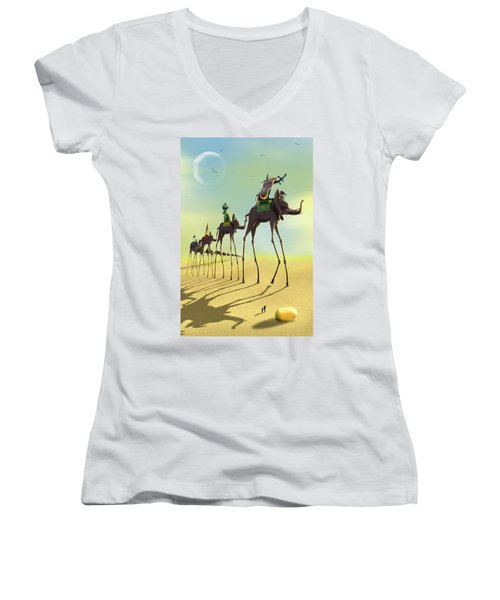 On The Move 2 Women's V-Neck T-Shirt (Junior Cut) by Mike McGlothlen