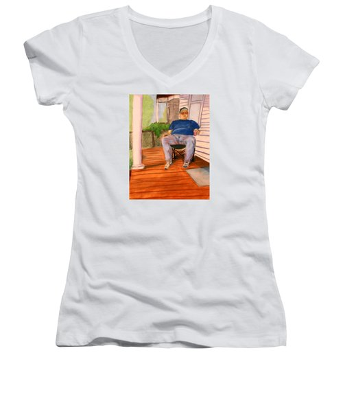 On The Porch With Uncle Pervy Women's V-Neck (Athletic Fit)