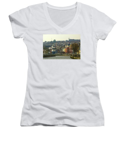 Women's V-Neck T-Shirt (Junior Cut) featuring the photograph On The River Lee, Cork Ireland by Marie Leslie