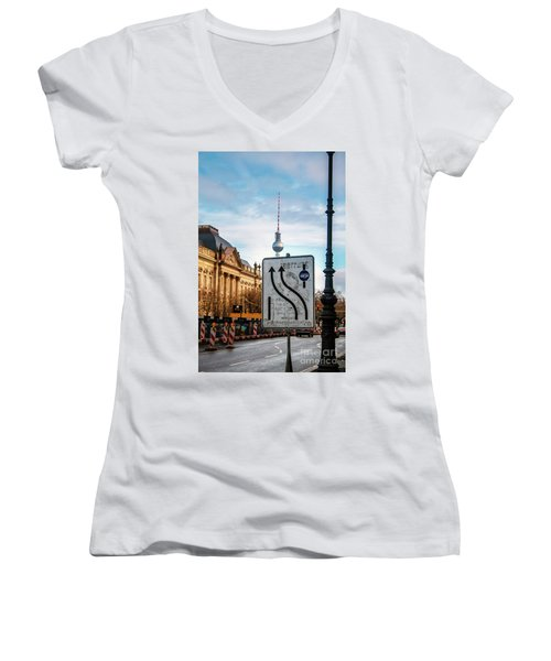 On The Road In Berlin Women's V-Neck T-Shirt (Junior Cut) by Ana Mireles