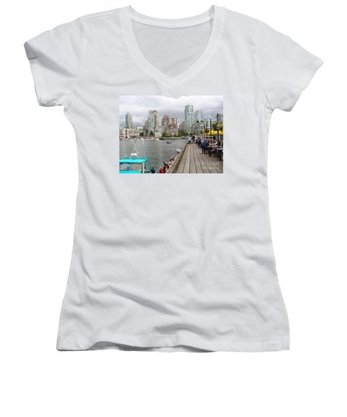 Women's V-Neck T-Shirt (Junior Cut) featuring the painting On The Water At False Creek Vancouver by Rod Jellison