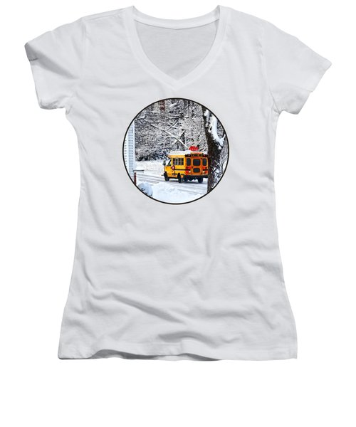 On The Way To School In Winter Women's V-Neck T-Shirt (Junior Cut) by Susan Savad