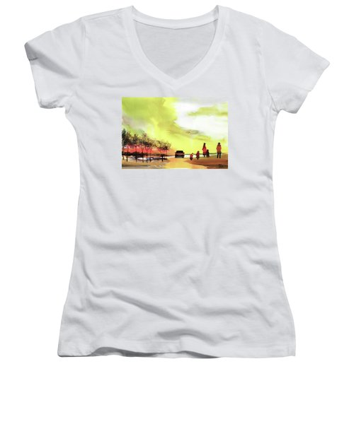 Women's V-Neck T-Shirt (Junior Cut) featuring the painting On Vacation by Anil Nene