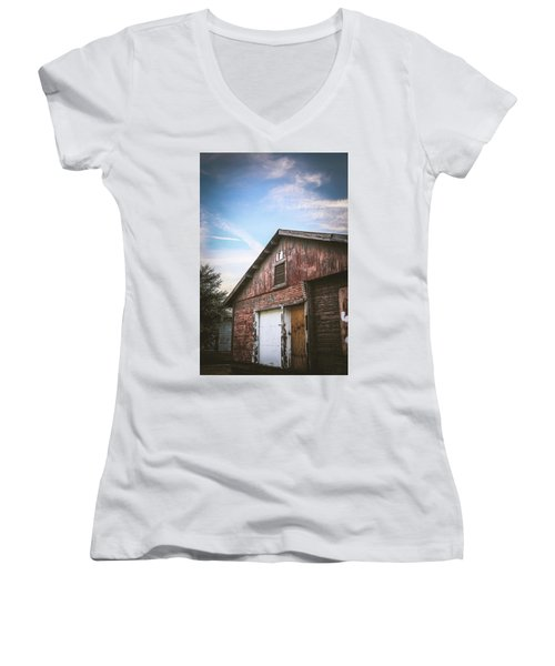 Women's V-Neck T-Shirt (Junior Cut) featuring the photograph Once Industrial - Series 1 by Trish Mistric