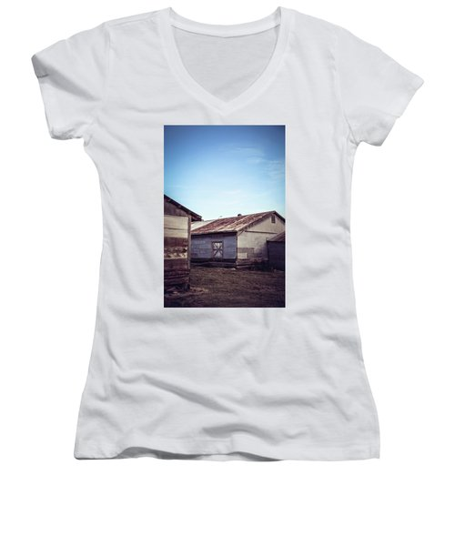 Women's V-Neck T-Shirt (Junior Cut) featuring the photograph Once Industrial - Series 2 by Trish Mistric