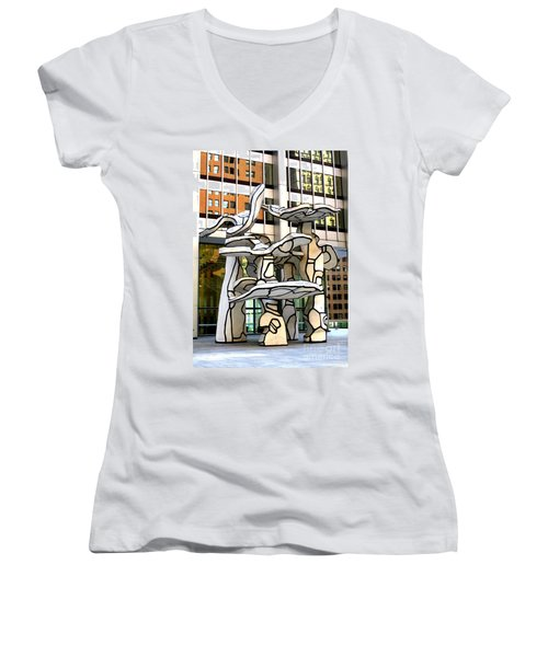 One Chase Manhattan Plaza 1 Women's V-Neck T-Shirt
