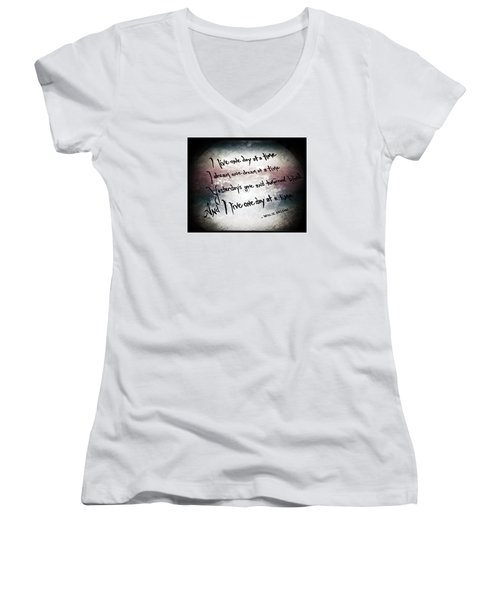 Women's V-Neck T-Shirt (Junior Cut) featuring the photograph One Day.... by Trish Mistric