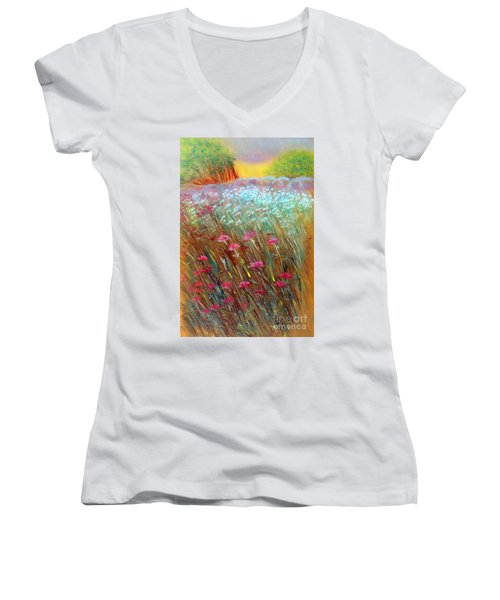One Day In The Wild Women's V-Neck T-Shirt (Junior Cut) by Jasna Dragun