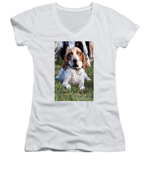 One Tired Hound Women's V-Neck (Athletic Fit)