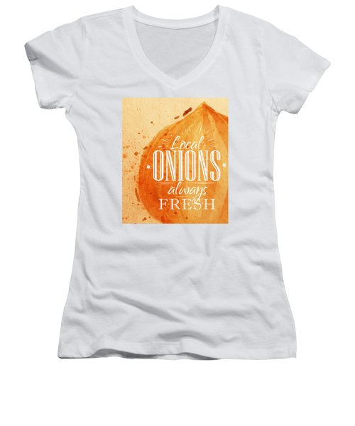 Onion Women's V-Neck T-Shirt (Junior Cut) by Aloke Creative Store