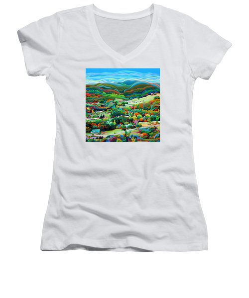 Onset Of The Appalachian Wonderfall Women's V-Neck (Athletic Fit)