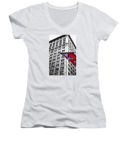 Ontario Flag Women's V-Neck T-Shirt (Junior Cut) by Valentino Visentini