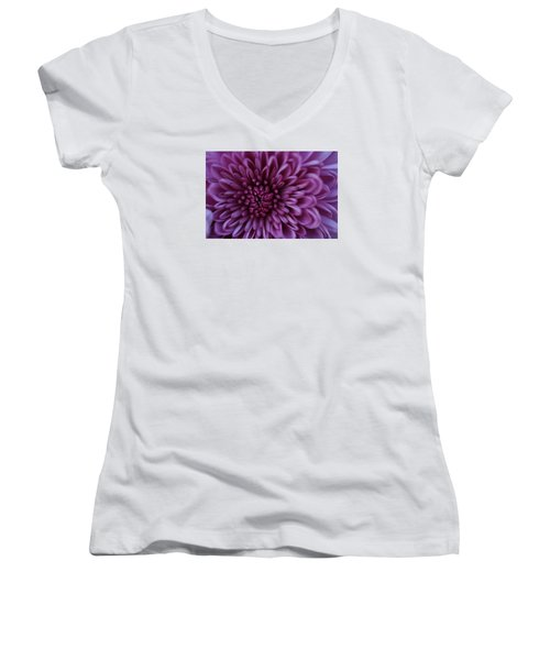 Women's V-Neck T-Shirt (Junior Cut) featuring the photograph Purple Mum by Glenn Gordon