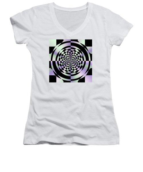 Optical Checkerboard Women's V-Neck