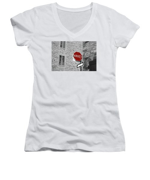 Optical Illusion, Quebec City Women's V-Neck T-Shirt (Junior Cut) by Brooke T Ryan