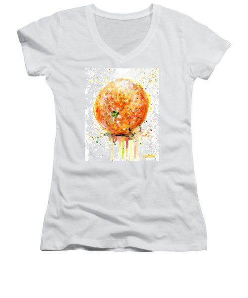 Orange 1 Women's V-Neck T-Shirt (Junior Cut) by Arleana Holtzmann