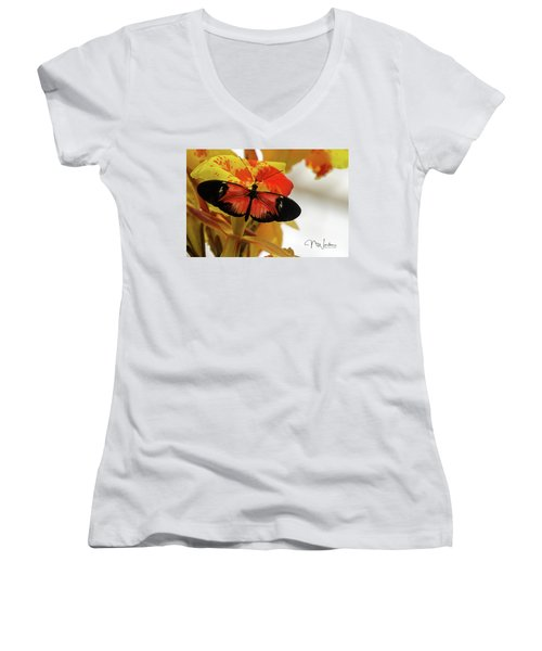 Orange And Black Butterfly Women's V-Neck (Athletic Fit)
