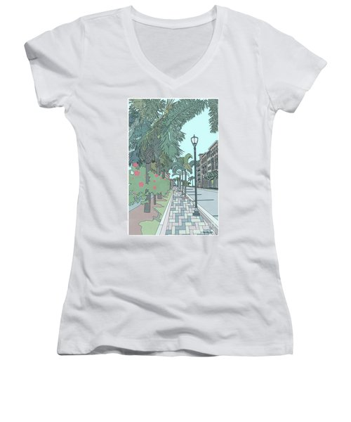 Women's V-Neck T-Shirt featuring the digital art Orange Avenue by Megan Dirsa-DuBois