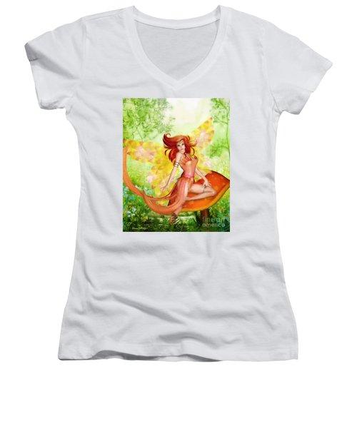 Orange Fairy Women's V-Neck
