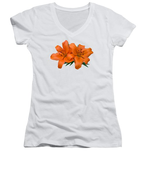 Orange Lily Women's V-Neck T-Shirt (Junior Cut) by Jane McIlroy