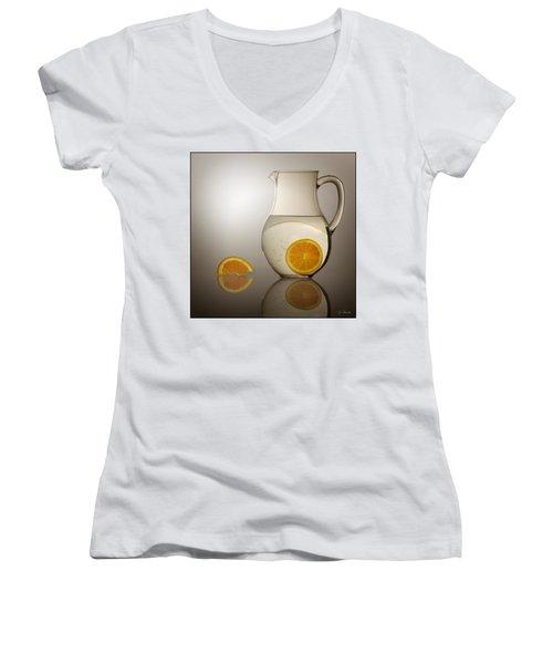 Oranges And Water Pitcher Women's V-Neck T-Shirt (Junior Cut) by Joe Bonita