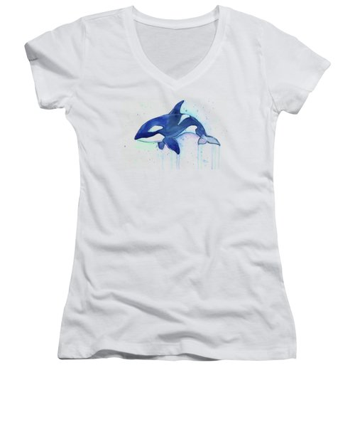 Orca Whale Watercolor Killer Whale Facing Right Women's V-Neck (Athletic Fit)