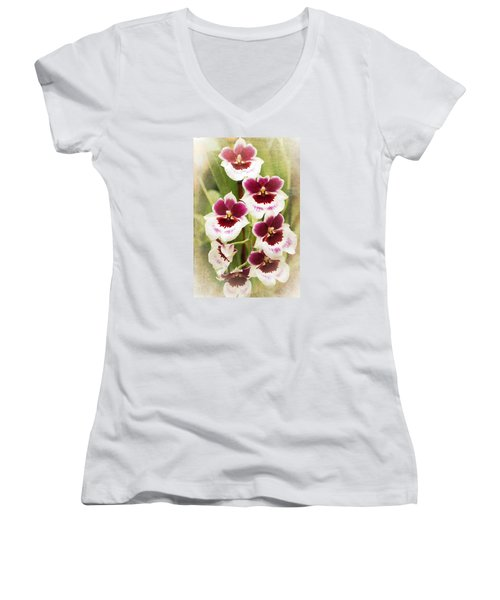 Orchid 2 Women's V-Neck T-Shirt (Junior Cut) by Catherine Lau