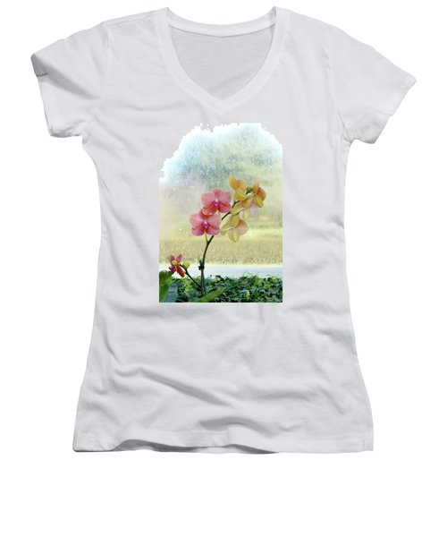 Orchid In Portrait Women's V-Neck