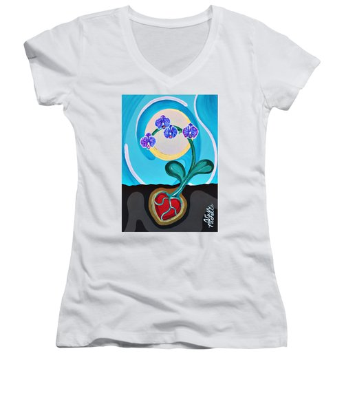 Orchids For My Love Women's V-Neck