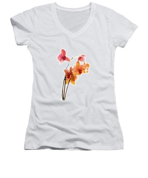 Orchids Women's V-Neck T-Shirt (Junior Cut) by Mark Alder