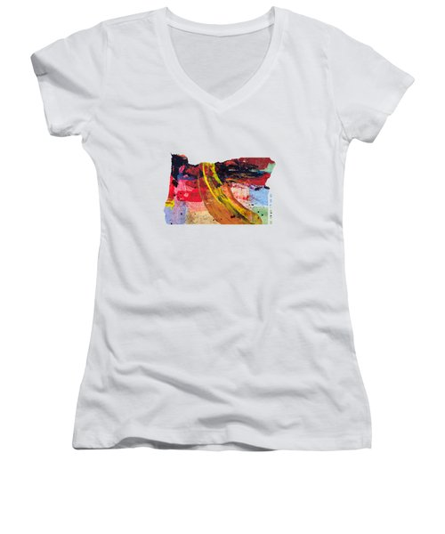 Oregon Map Art - Painted Map Of Oregon Women's V-Neck T-Shirt (Junior Cut) by World Art Prints And Designs
