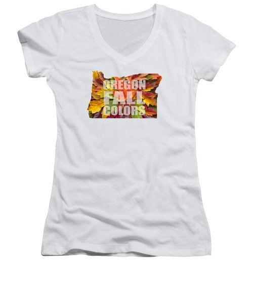 Oregon Maple Leaves Mixed Fall Colors Text Women's V-Neck T-Shirt