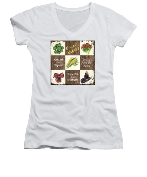 Organic Market Patch Women's V-Neck T-Shirt (Junior Cut) by Debbie DeWitt