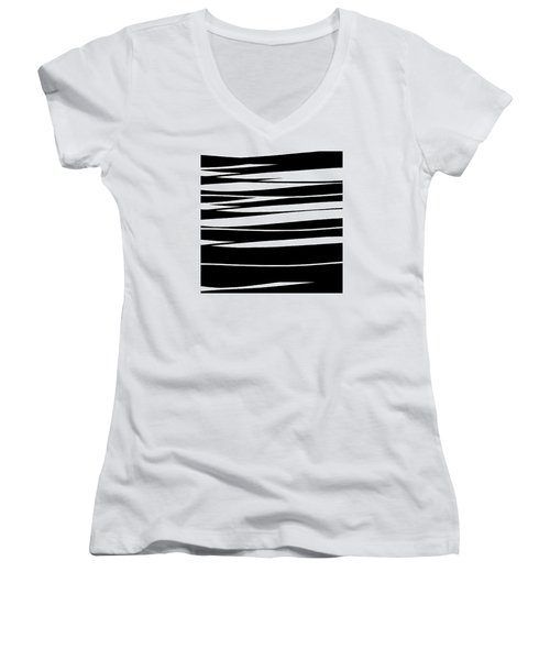 Organic No 9 Black And White Women's V-Neck (Athletic Fit)