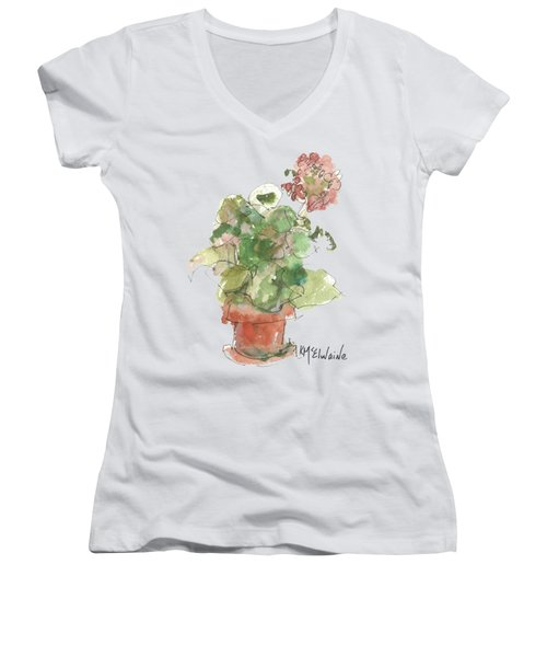 Original Buspaintings Geranium Watercolor Painting By Kathleen Mcelwaine Women's V-Neck T-Shirt (Junior Cut) by Kathleen McElwaine
