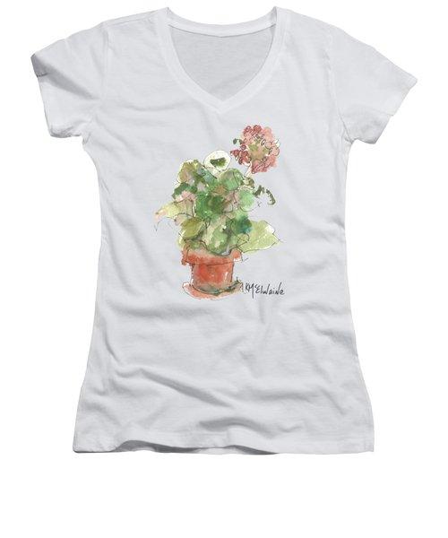 Original Buspaintings Geranium Watercolor Painting By Kathleen Mcelwaine Women's V-Neck T-Shirt