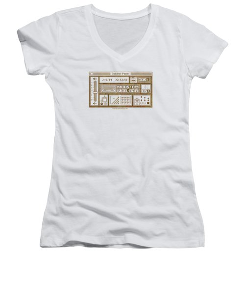 Original Mac Computer Control Panel Circa 1984 Women's V-Neck T-Shirt (Junior Cut) by Design Turnpike