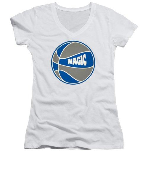 Women's V-Neck T-Shirt (Junior Cut) featuring the photograph Orlando Magic Retro Shirt by Joe Hamilton