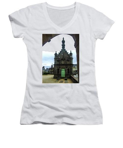 Ossuary Of St Thegonnec Women's V-Neck T-Shirt (Junior Cut) by Helen Northcott