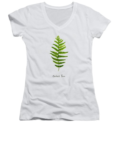 Ostrich Fern Women's V-Neck T-Shirt (Junior Cut) by Color Color