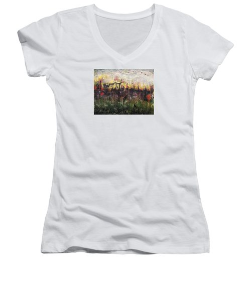 Women's V-Neck T-Shirt (Junior Cut) featuring the painting Other World 2 by Ron Richard Baviello
