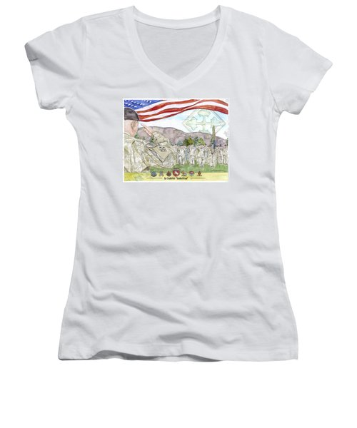 Our Credentials Steadfast And Loyal Women's V-Neck (Athletic Fit)
