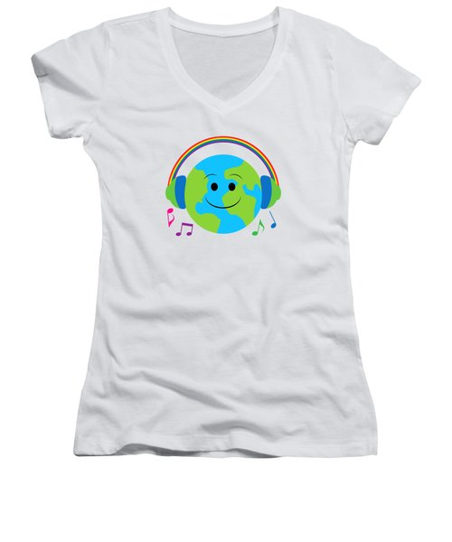 Our Musical World Women's V-Neck T-Shirt (Junior Cut) by A