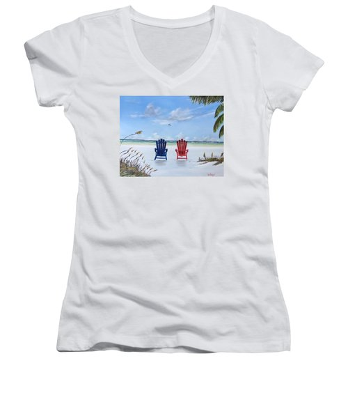 Our Spot On Siesta Key Women's V-Neck T-Shirt (Junior Cut) by Lloyd Dobson