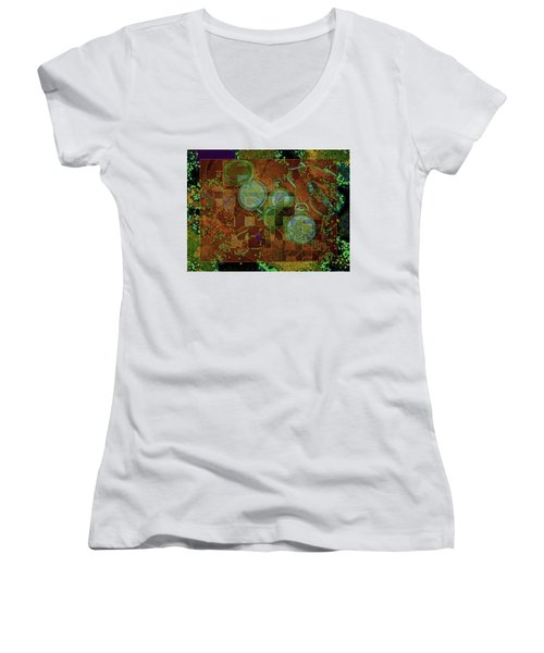 Women's V-Neck featuring the mixed media Out Of Time 5  by Lynda Lehmann