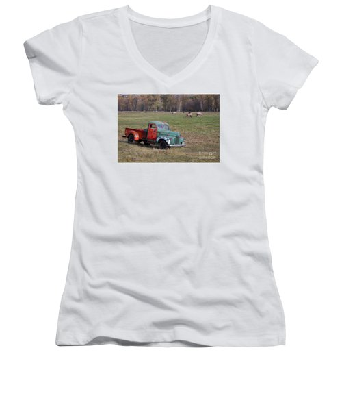 Out To Pasture Women's V-Neck (Athletic Fit)