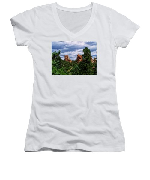 Women's V-Neck T-Shirt (Junior Cut) featuring the digital art outcroppings in Colorado Springs by Chris Flees